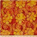 Indian Batik Floral Vine Yellow/Orange/Rust