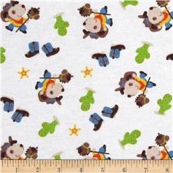 Flannel Tossed Cowboy White Fabric