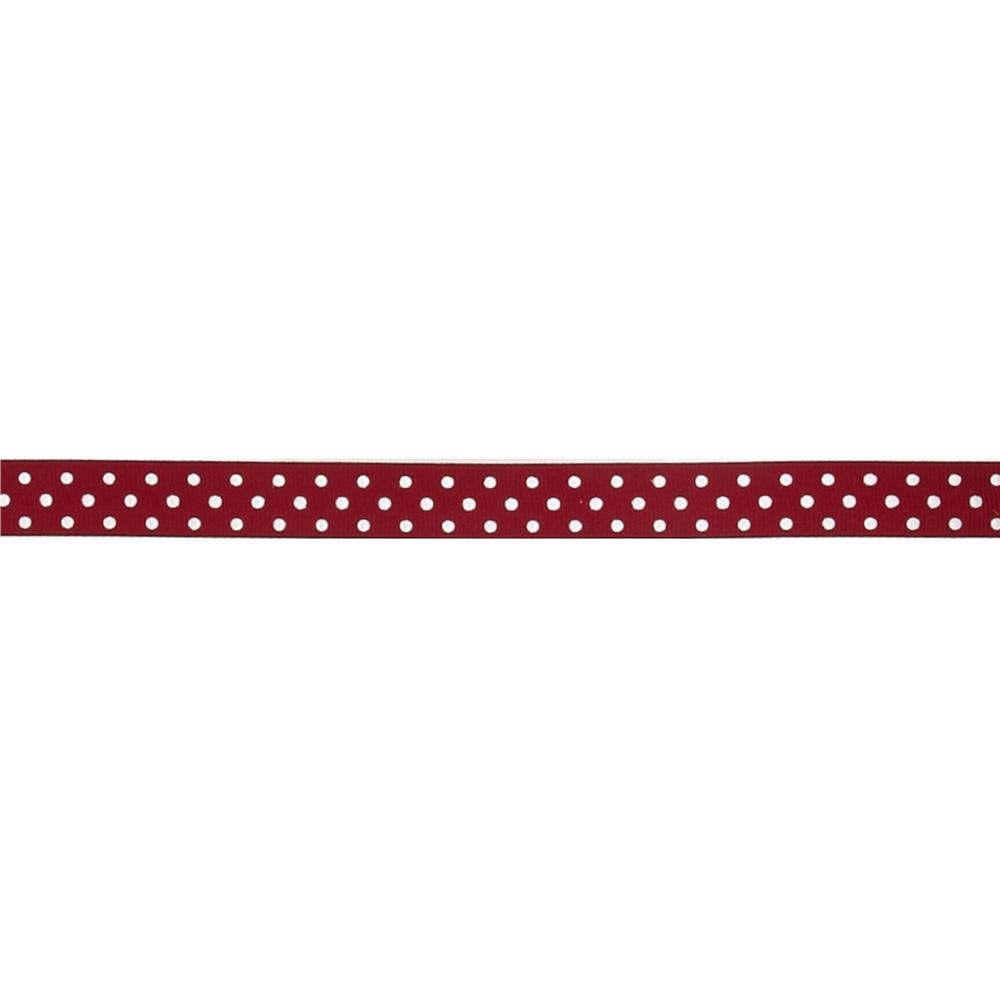 "May Arts 5/8"" Grosgrain Dots Ribbon Spool Burgundy/White"