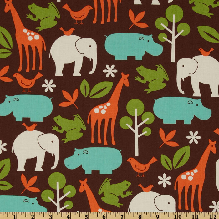 Michael Miller Zoology Animals Mud Fabric