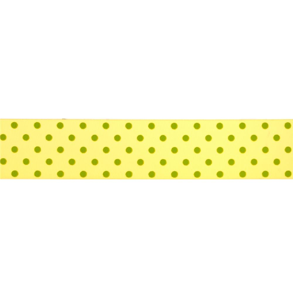 "May Arts 1 1/2"" Grosgrain Dots Ribbon Spool Yellow/Green"