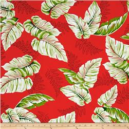 Tropical Dream Machine Washable Palm Shirting Red/Green