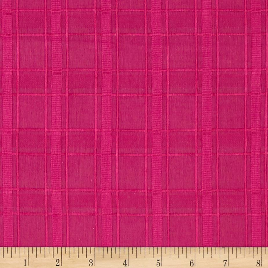 Cotton Shirting Window Pane Weave Fuchsia