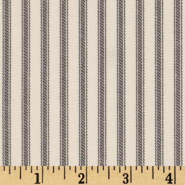 Vertical Ticking Stripe Ivory Charcoal