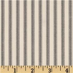 Vertical Ticking Stripe Ivory/Charcoal
