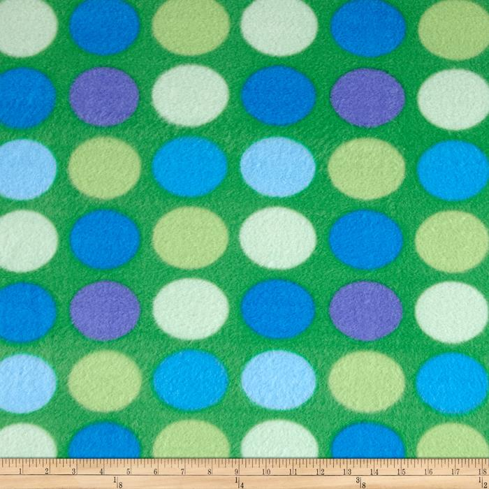 Simply Dino Dot Fleece Green Fabric By The Yard
