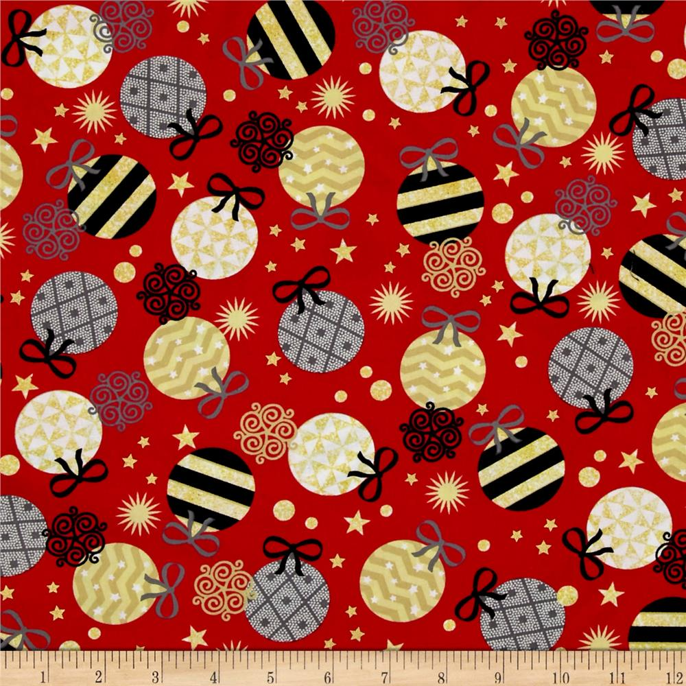 All That Glitters Metallic Ornaments Red Fabric By The Yard