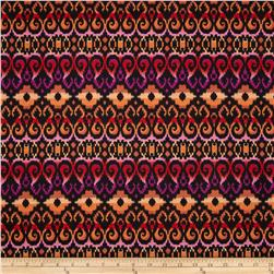 Designer Stretch Jersey Knit Abstract Ikat Black/Rust