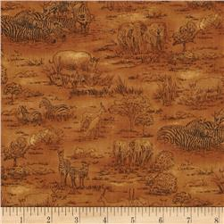 Jungle Party Animal Toile Rust