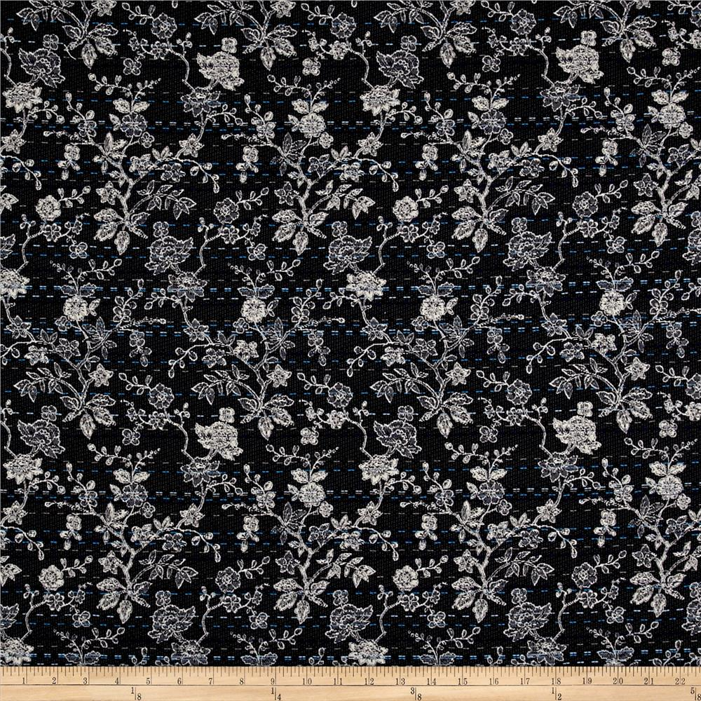 French Denim Look Floral Jacquard Navy/Off White/Blue