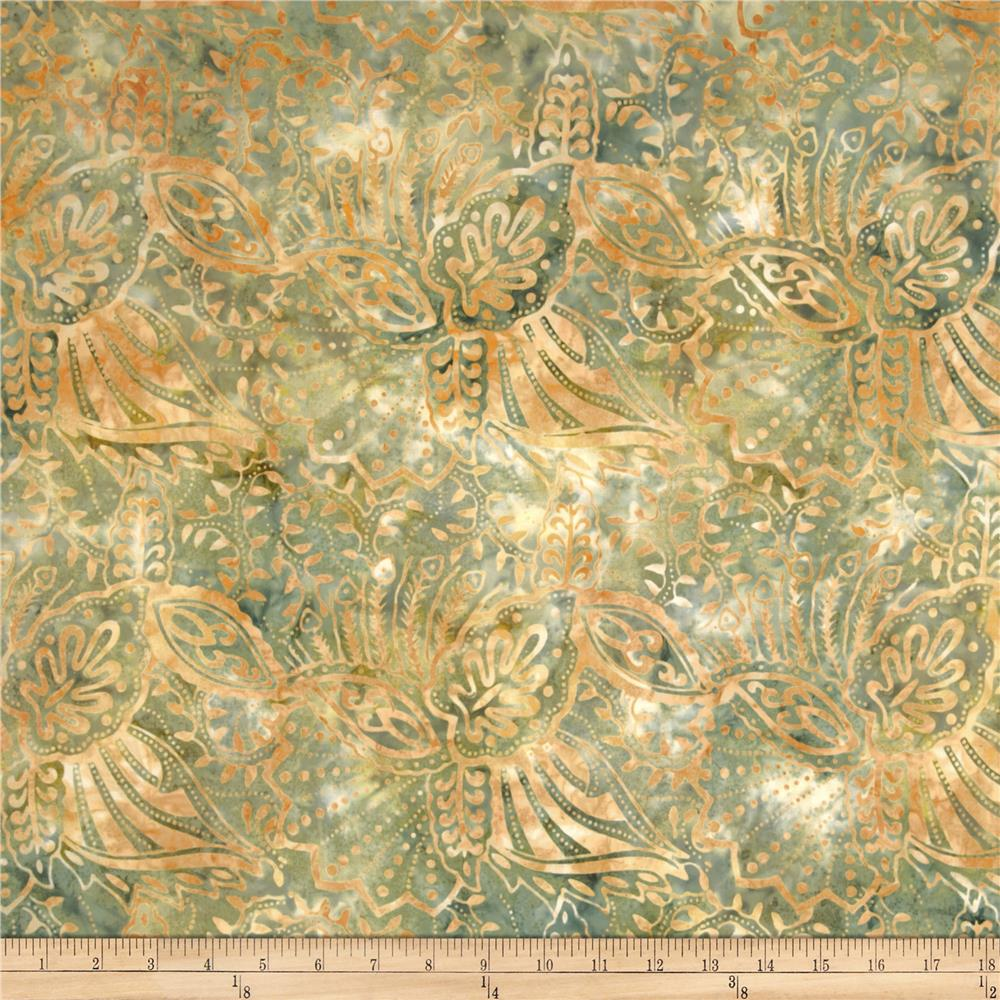 Batavian Batiks Perfectly Paisley Smoke Green