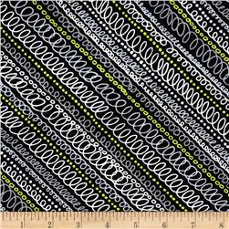 Timeless Treasures Doodle Scribble Stripe Black