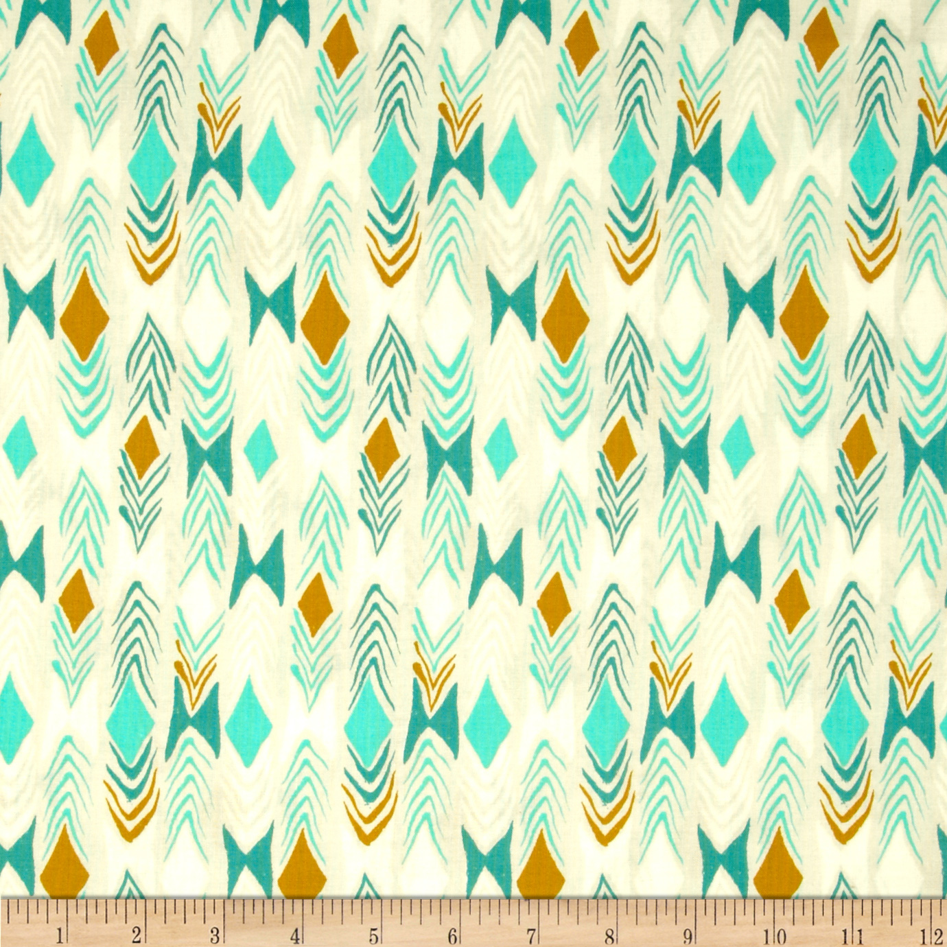 Image of Cotton & Steel August Diamond Back Teal Fabric