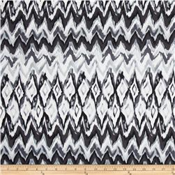 Bloom Stretch Cotton Sateen Watercolor Ikat Black/Grey