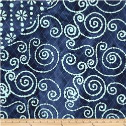 Double Sided Quilted Indian Batik Swirl/Floral Indigo