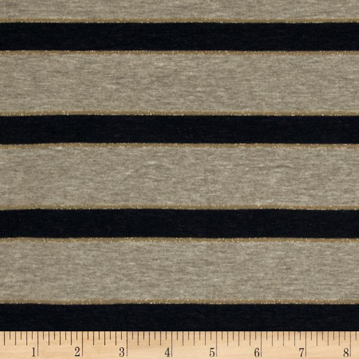 Designer Rayon Jersey Knit Stripe Wheat/Black