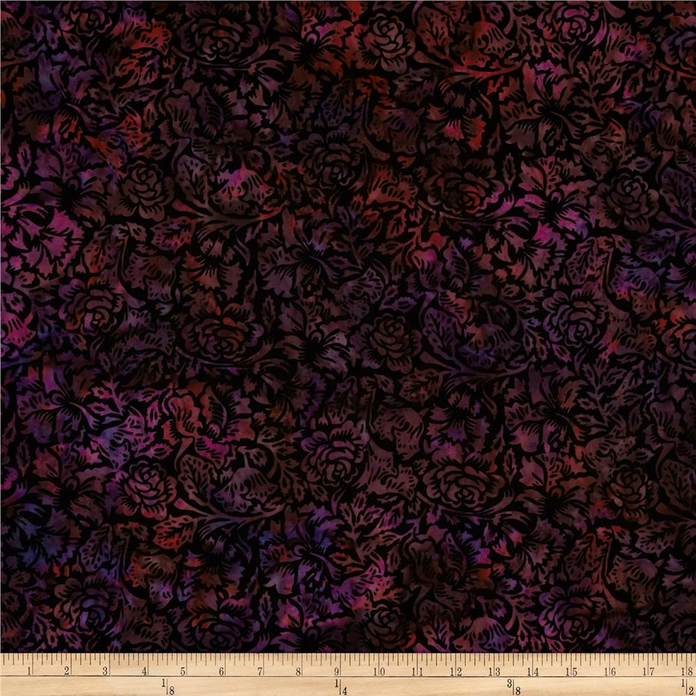 Bali Batiks Handpaints Floral Tapestry Boysenberry