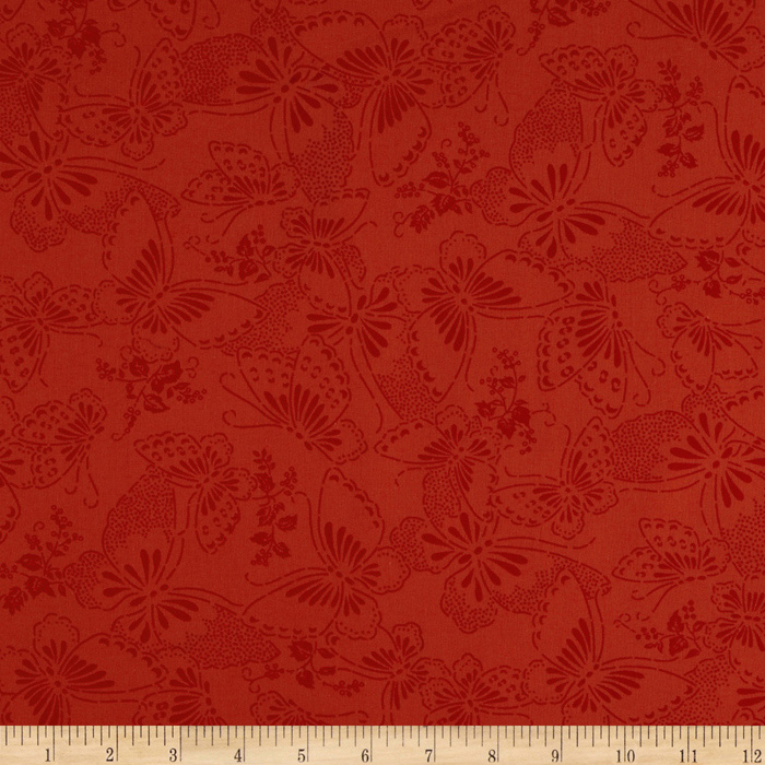 110'' Wide Quilt Backing Butterfly Red Fabric