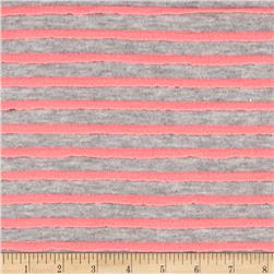 Stripe Ruffle Knit Heather Gray/Pink