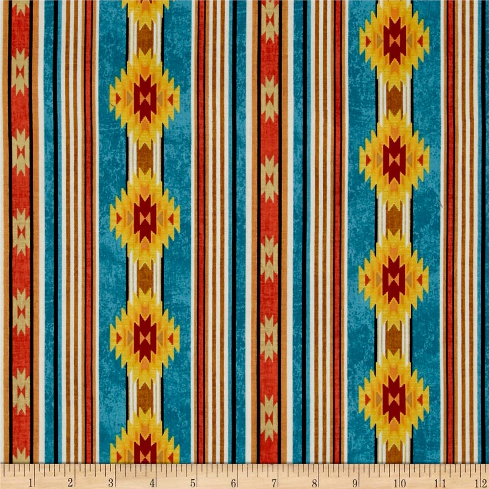 Timeless Treasures Out West Cabin Stripe Turquoise