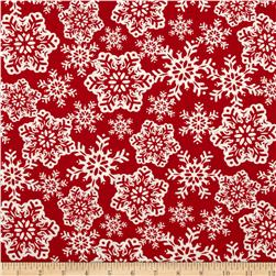 Moda Be Jolly Falling Snowflakes Berry Red