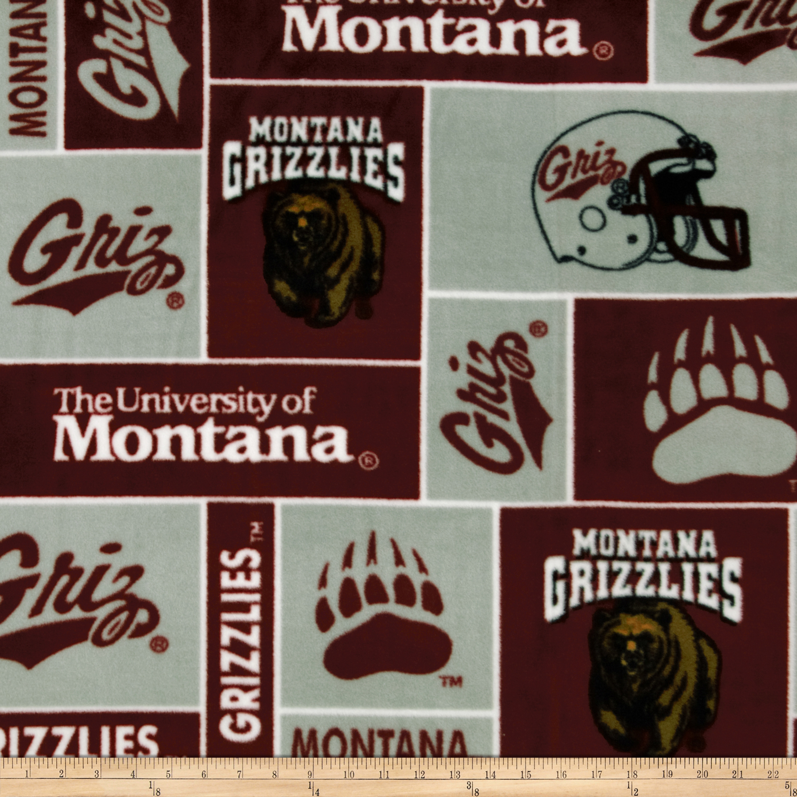 Collegiate Fleece University of Montana Maroon Fabric