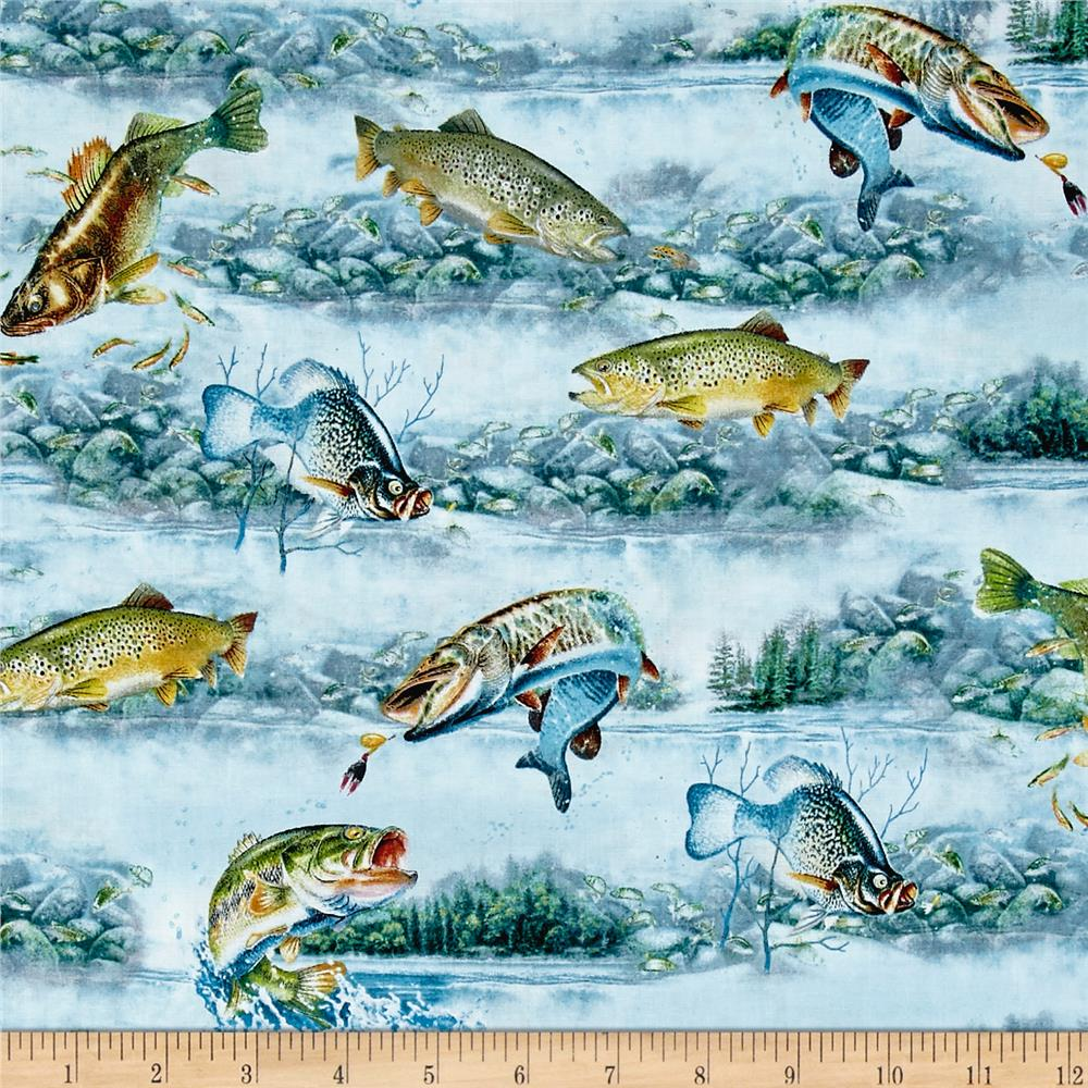 Quilting Treasures So Many Fish So Little Time Fish Scenic Light Blue Fabric