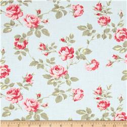 Petal Scattered Roses Blue Fabric