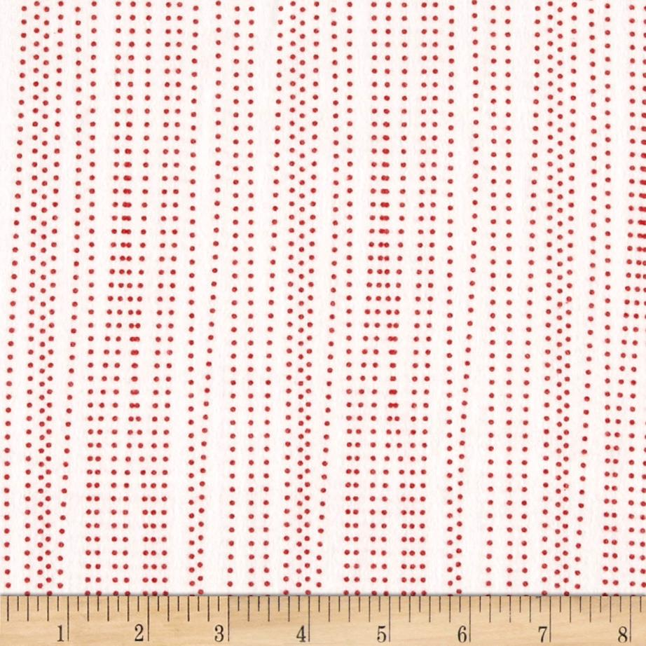Moda Red Dot Green Dash Brushed Cottons Sleet Winter White/Red Fabric
