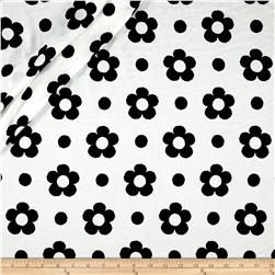Europa Silky Polyester Satin Shirting Black Spring Flower on White