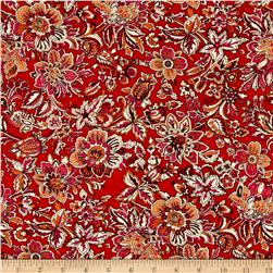 Hampton Court Cotton Shirting Floral Print Red