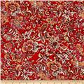 Telio Hampton Court Cotton Shirting Floral Print Red