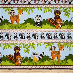 Forest Friends Flannel Owls Repeating Stripe Blue
