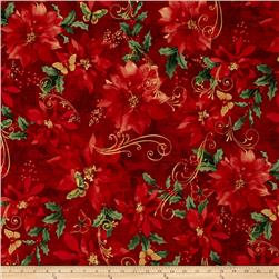 Festive Flora Metallic Poinsettias Script Red/Gold