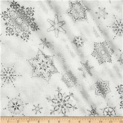 Robert Kaufman Holiday Flourish Metallic Snowflakes Silver