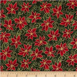 Holiday Accents Classics 2014 Poinsettia Metallic Green