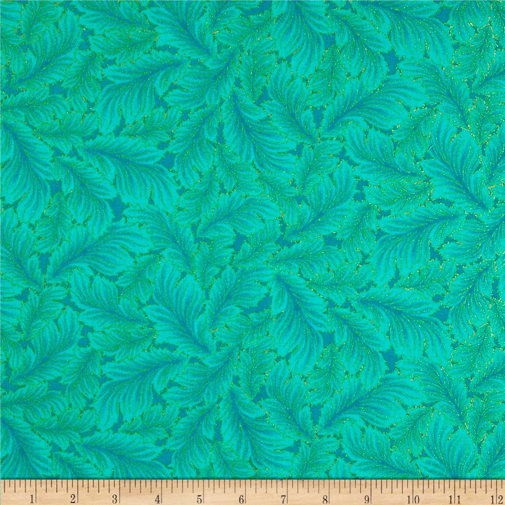 Timeless Treasures Dynasty Metallic Stylized Feather Teal