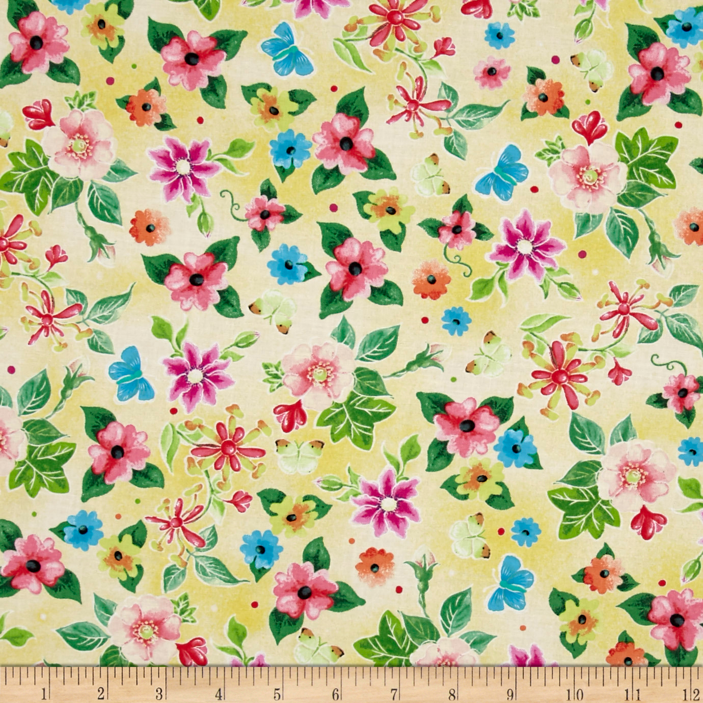 Blessed Flowers Yellow Fabric