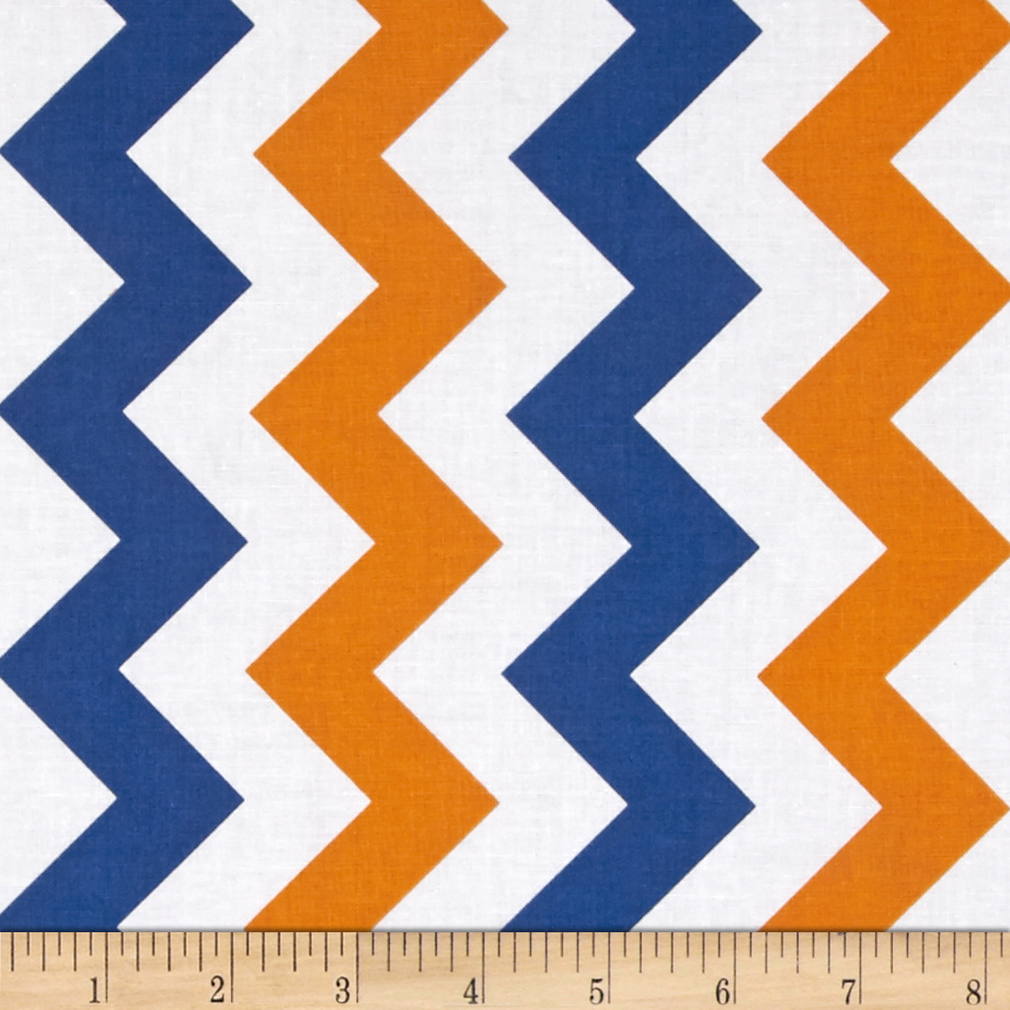 Riley Blake Medium Chevron Orange/Blue Fabric