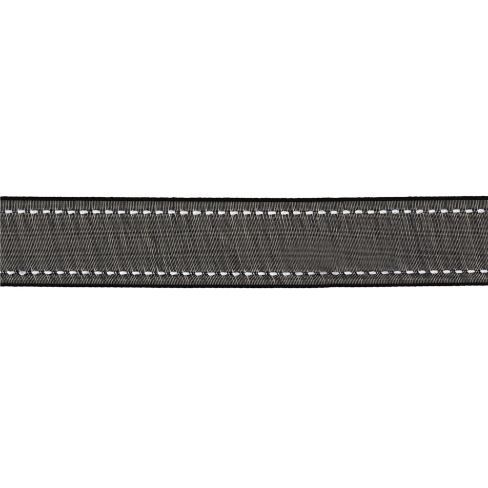 "7/8""  Sheer Stitched Edge Ribbon Black"