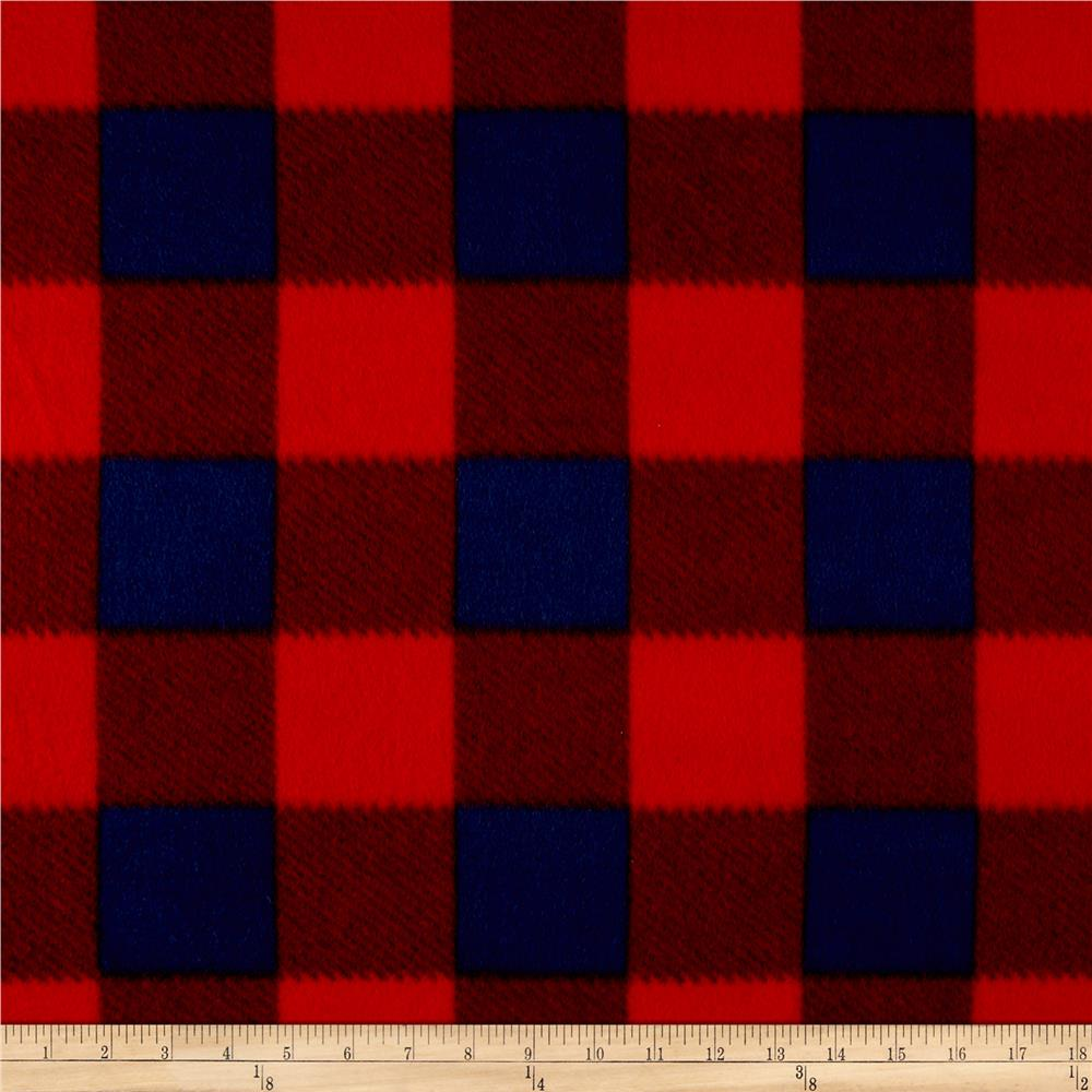 Fleece Buffalo Plaid Print Navy/Red Fabric By The Yard