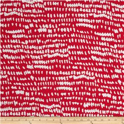 Stretch Rayon Jersey Knit Animal Red/White