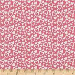 Riley Blake Holiday Banners Hearts Pink Fabric