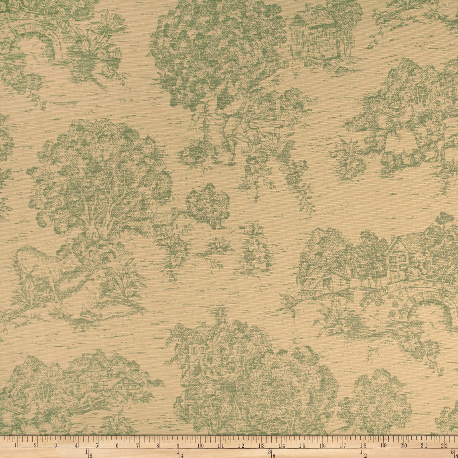 Pastoral Toile Ivory/Tan Cream Fabric