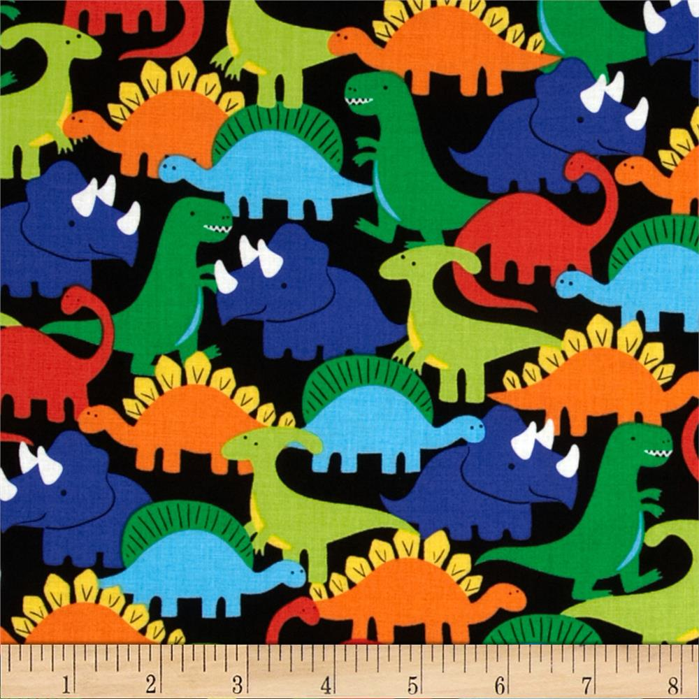 Michael miller retro dino mites primary discount for Dinosaur fabric