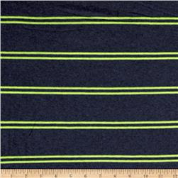 Designer Jersey Knit Stripe Heatherd Navy/Lime