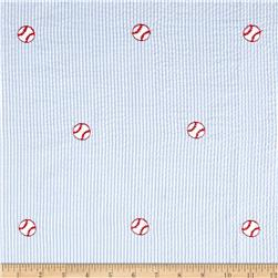 Robert Kaufman Seersucker Embrioderies Baseball Light Blue