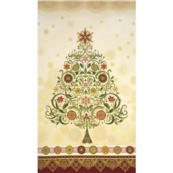 Winter's Grandeur Metallic Large Damask Tree Panel Holiday Cream