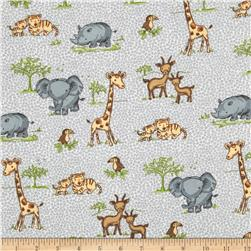 Comfy Flannel Safari Animals Grey
