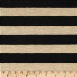 Yarn Dyed Hatchi Knit Stripe Black/Ivory